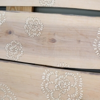 Embroidered wall panels