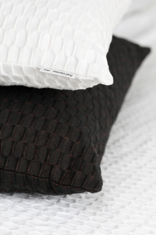 FLY pillow, white & dark brown