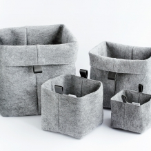 TRIO-4 set of felted baskets <br>(XS + S + M + L)