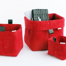 TRIO-3 set of felted baskets <br>(XS + S + M)